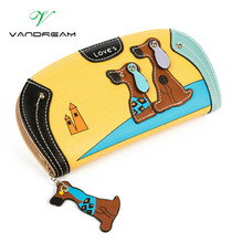 2016 Women cute dog wallet small long zipper girl wallet brand designed pu leather lady coin purse female card holder clutch bag