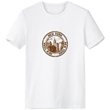 America New York Classic Landmark Country City Postmark Illustration Pattern Crew-Neck White T-shirt Spring and Summer Tagless C