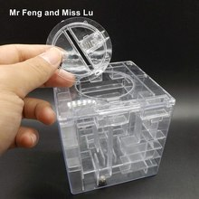Transparent Cool Money Maze Coin Saving Box 3D Puzzle Game Gift Holder Kids Gift