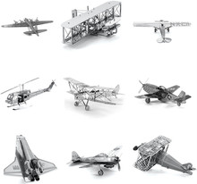 Various Kinds Fighter Aircraft Plane Helicopters 3D Metal Puzzle For Adult Educational Toys Jigsaw Puzzle Kids Toys For Boy(China)
