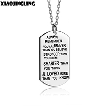 "XIAOJINGLING US Stock Pendant Necklace""Always Remenber You Are Braver Than You Believe""Christmas Day Anniversary Jewelry Gift(China)"
