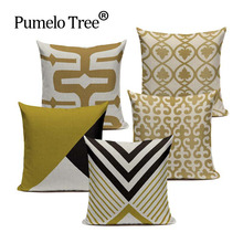 Decorative throw pillow cushion cover gold Tyrant gold color cotton linen geometric cushion cover for sofa home decor 45x45cm(China)