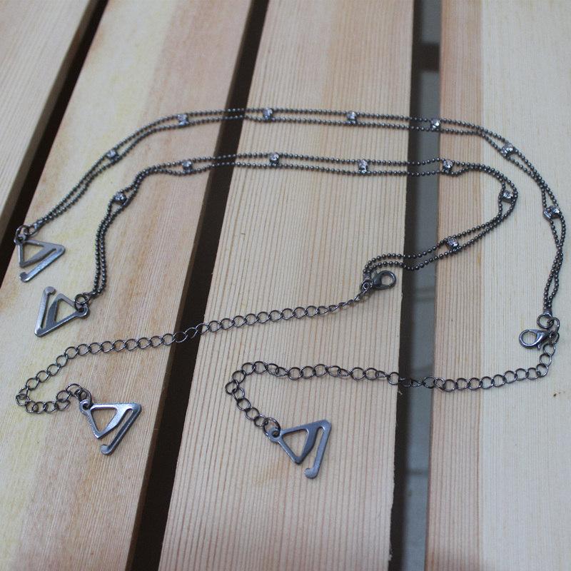 Metal Adjustable Silver Black Bra Shoulder Strap Rhinestone Bra Shoulder Strap Double Beads Clip Bra Underwear Shoulder Straps 7