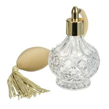 New 1pcs 80ml Empty Glass Perfume Spray Bottle Vintage Style Gold Long Tassel Spray Clear Crystal Refillable Bottles Makeup Tool(China)