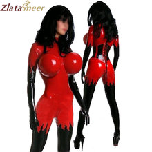 Women Sexy Inflatable Breast Latex Catsuit Wet Look Red and Black Rubber Bodysuit Ladies One Piece Fetish Latex Costume LC087