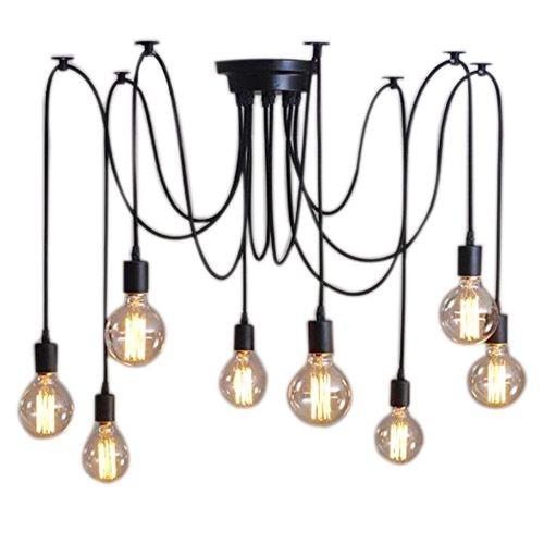 8 Lights Vintage Edison Lamp Shade Multiple Adjustable DIY Ceiling Spider Lamp Pendent Lighting Chandelier Modern Chic Easy Fi<br>