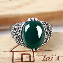 Retro Vintage 925 silver set yellow green chalcedony jade resizable rings finger female romantic jewelry for women