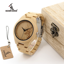 BOBO BIRD WD28 Full Bamboo Wooden Watch for Men Hot Elk Deer Head Story Designer Brand Quartz Wrist Watches in Gift Box