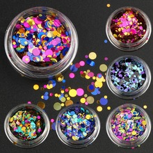 6pcs/lot Colorful Nail Glitter Set Mix Size Nail Art Glitter Powder Nails Decorations Nail Sequins Dust DIY Manicure Tools WY659