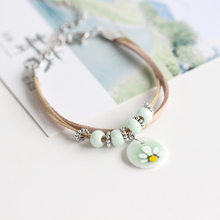 Summer Style Ceramic Bracelet Hand Painted Flower Pattern Beads Leather Rope Chain Charm Bangle Fashion Jewelry for Women(China)