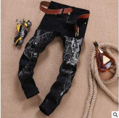 Cool Mens Painted jeans 100% cotton Clubwear Personality fashion Jeans Men Straight Mens Denim Trousers Mens Printed Jeans J005Îäåæäà è àêñåññóàðû<br><br>