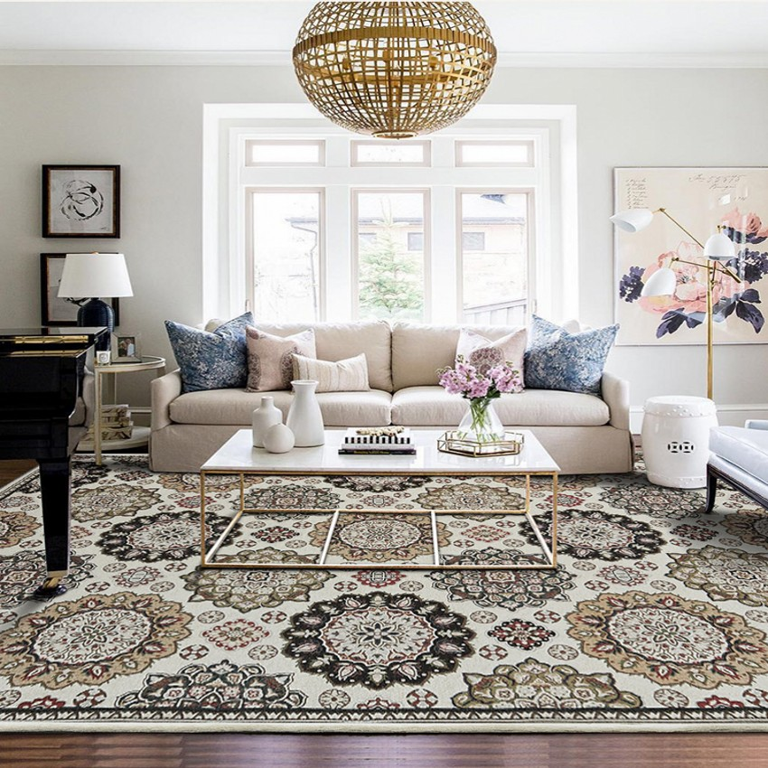Grey and Black Rug Oriental Pattern Ornament Living Room Carpet Mat Small Large