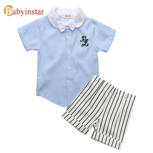 Babyinstar Summer Cotton Boys Clothing Set Casual Student Wear Preppy Style Baby Boy Clothes 2pcs Children's Set Outerwear