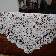 Handmade hook flowers cotton lace hollow square Crocheted Table Cloth / Many Uses place mat Pads/ Vintage Europe Style