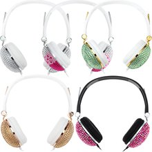 Bling Headphones Anti-noise Music Fashion Wired headset with Artificial Shiny Crystal Rhinestone for DJ Mobile Phone PC