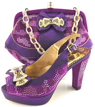 Latest Shoes and Bag Set African Sets 2017 Purple Color African Women Matching Italian Shoe and Bag Set Decorated with Appliques