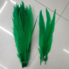 40-45cm Long Silver Pheasant Tail Feathers Natural green Fly/Fishing/Craft 10pcs/lot plume feather for DIY decoration(China)