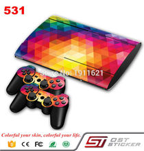 OSTSTICKER Coloful Decal Skin Cover For Playstaion 3 4000 Console PS3 Super Slim Skin Stickers+2Pcs Controller Protective Skins(China)