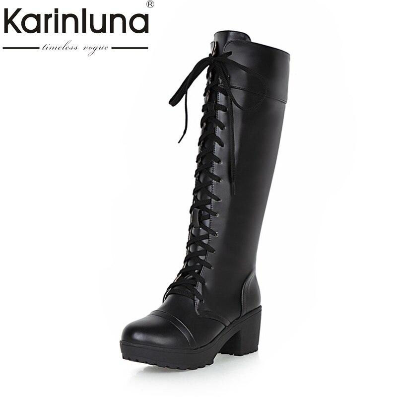 KARINLUNA 2017 Large Size 33-48 Platform Black Women Shoes Woman Lace Up Square Heels Knee High Boots Add Fur Inside<br>