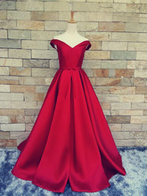 2017 Simple Dark Red Prom Dresses V Neck Off The Shoulder Custom Made Lace Up Back Evening Gowns Formal Party Dresses