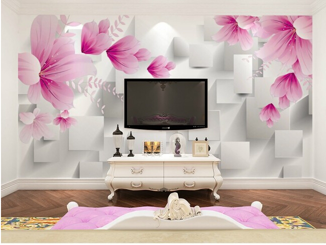 The custom 3D murals,3D stereo square red flowers  papel de parede,living room sofa TV wall bedroom wall paper<br>