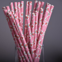 25pcs/lot Pink Paper Straws Biodegradable Vintage Retro Floral Drinking Straws For Wedding Birthday Party drinking Prom Straws(China)