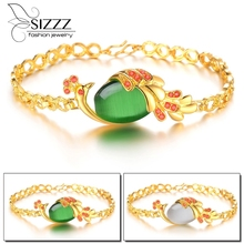 wholesale price new brand women's fashion jewelry luxury gold filled stone crystal Peacock bracelet 2 colors(China)
