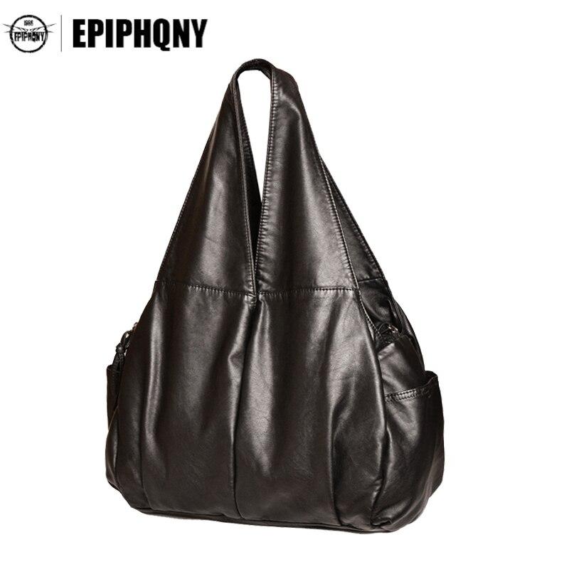Epiphqny Brand Women Soft PU Leather Handbag Single Black Shoulder Bag Fashion Lady Large Capacity Space Tote Bag High Quality<br>