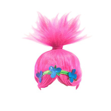 Trolls Carnival Costume Wig Poppy Cosplay Headwear Baby Girls Acessories(China)