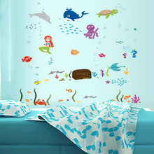 Crab Ocean World Whale Jellyfish Fishes Wall Decal Home Sticker Paper Art Picture DIY Murals kid Nursery Baby Room Decoration
