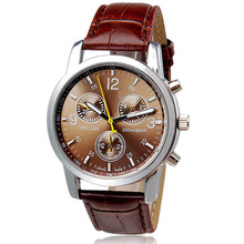 Mens Watches New Luxury Fashion Watches  Faux Leather Mens Analog  Watches  Casual  Quartz-Watch Relogio Masculino Dorp Shipping