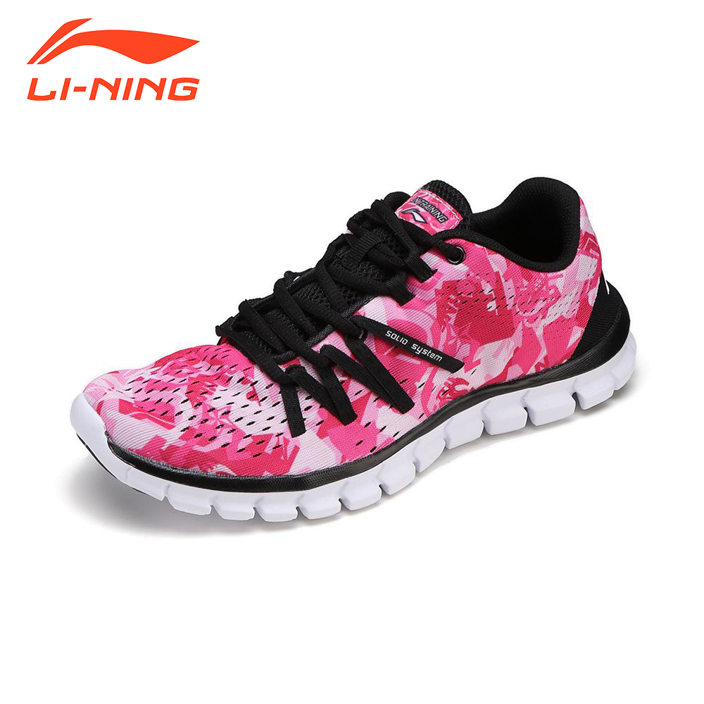 Li-Ning Women Running Shoes Training Women Sneakers Lace-Up Breathable Damping Indoor Floral Light Sport Shoes LiNing Brand <br>