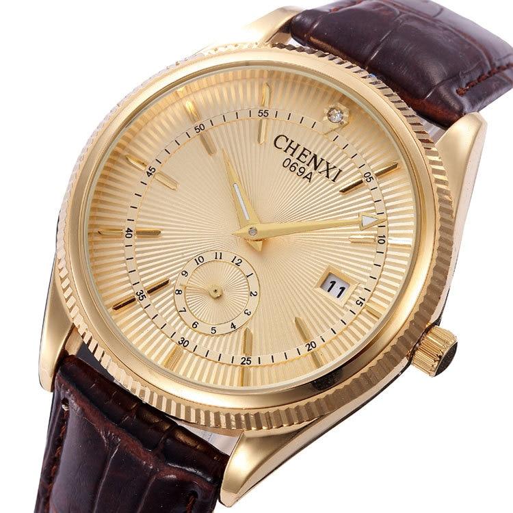 CHENXI Gold Silver Crystal Dual Time Luxury Genuine Leather Quartz Dress Wristwatches Wrist Watch for Men Male /w Calendar 069A<br><br>Aliexpress