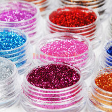 12 Color Nail Glitter Powder Decor Nail Art Powder Sparkly Dust Acrylic UV Powder Dust gem Polish Nail(China)