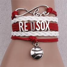 New Fashion Infinity Love MLB Redsox Team Bracelet DIY Sports Charm Bracelet & Bangles for Baseball Fans Jewelry(China)