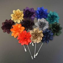 12 Colors New Fashion Men Brooches of Fabric Flowers Men Lapel Pin Men Brooches for Suits Handmade Wedding Brooch Jewelry