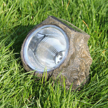 LumiParty Free Shipping Stone Shaped 3LEDs Solar Powered LED Light Spot Lights Battery-In Landscape Lawn Yard Decoration