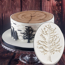 Home DIY Chocolate Tree Leaves Shape Cake Decor Mould Silicone Fondant Mold DIY Baking(China)