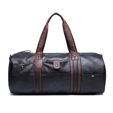 ETONWEAG 1x black men leisure travel training fitness PU leather handbag / shoulder bag / luggage bag / sports bag 50 * 21 * 2