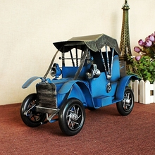 Classic 1/12 Scale Retro Tin Car Model Diecast Metal Blue Big Car Model For Children Gift Exquisite Handmade Home Decorations