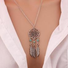 2017 Best Fashion Retro Bohemian Dream Catcher Pendant Chain Necklace Gift Ladies Tassel Feather Pendant Necklace Jewelry Choker(China)