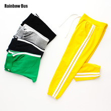 RAINBOW BUS Fashion Brand Kids Boys Pants Side Striped Cotton Trousers Children Sport Pants Casual Kids Clothes Blue Yellow Grey