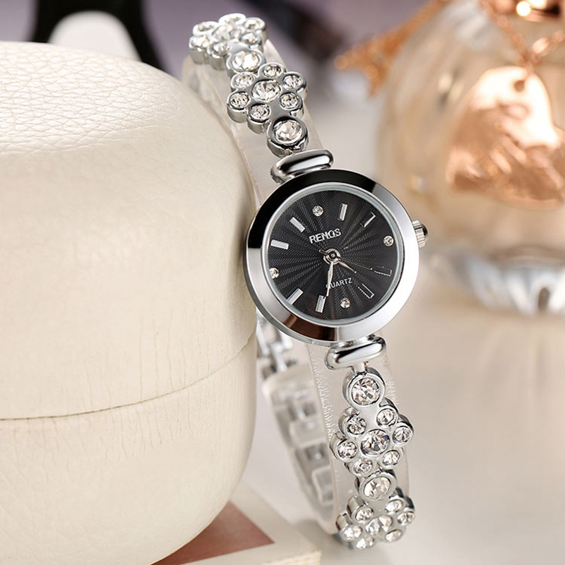 RENOS Quartz Watch Women Simple Skeleton Bracelet Crystal Rhinestones Watches Stainless Steel Ladies Wristwatch relogio feminino<br><br>Aliexpress