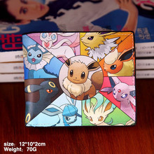 Mutilayer PU leather fold Wallet  printed with eevee of Anime Pocket Monster Type B