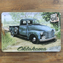 "SYF-003 Retro vintage Metal tin signs""car and route 66 road "" home decor painting wall art craft bar sticker pub garage  20x30cm"