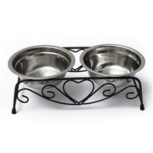 Hot Stainless Double Dog Bowl + medium bowl metal bowl waterer stand