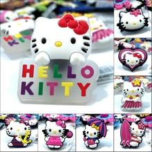 Novelty 1pcs Cute Hello Kitty High Imitation Shoe Charms,Shoe Buckles Accessories Fit for Croc JIBZ kids gifts(China)