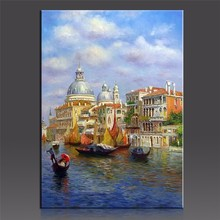 WEEN Water Castale Pictures By Numbers Modern IDY Handpainted Oil Canvas Painting Wall Pictures Coloring By Number Digital Art(China)