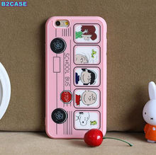 B2CASE cool for apple iphone 5 5S SE 5G 6 6G 6S 4.7 plus 5.5 New Peanuts Family bus cute cartoon kitty silicon soft case cover