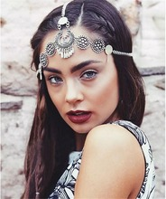 Boho Style vintage style silver Plated Braided Festival Headband flower headwear Ethnic head chain hair jewelry for Women Girl(China)